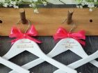 Personalised White Wooden Wedding Hanger with Bow - Heart